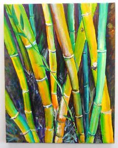 Bamboo Garden Original Acrylic Painting  from Kauai by kauaiartist