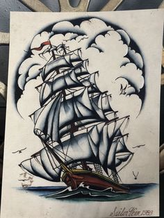 A biography available now: Sailor Vern Ingemarson, a tattooer for 30 years, was a disciple of Cap Coleman. In the he started his career working alongside Coleman and Paul Rogers in Norfolk, VA Nautical Drawing, Nautical Art, Under The Sea Drawings, Ship Tattoo Sleeves, Ocean Tattoos, Nautical Tattoos, Arabic Tattoos, Dessin Old School, Boat Drawing