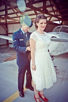 Getting ready for portraits. Americana, air force, vintage-inspired wedding.