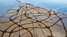 Using just a garden rake, artist inscribes monumental doodles along the banks of beaches.