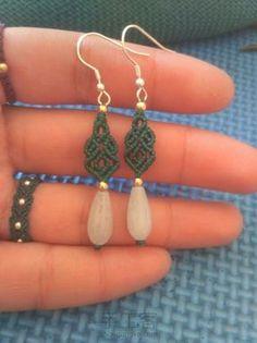 翡翠水滴耳坠 Macrame Rings, Macrame Bag, Macrame Necklace, Macrame Knots, Macrame Bracelets, Beaded Jewelry, Loom Bracelets, Friendship Bracelets, Jewellery