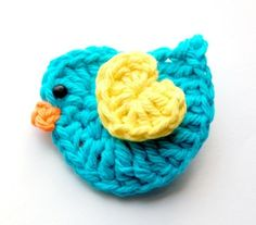 Baby Hair Clip - Aqua Blue and Yellow Crochet Bird Hair Clip - Etsy by catherine