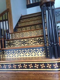 27 Painted Staircase Ideas Which Make Your Stairs Look New Tags: painted staircase painted plywood stairs painted stairs black painted stairs ideas pictures Stenciled Stairs, Painted Stair Risers, Painted Staircases, Tile Stairs, Wooden Stairs, House Stairs, Front Stairs, Carpet Stairs, Stair Makeover