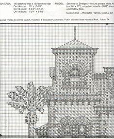 FULTON MANSION 03 Cross Stitch House, Cross Stitch Charts, Cross Stitch Patterns, Cross Stitching, Cross Stitch Embroidery, Cross Stitch Numbers, Cross Stitch Landscape, Modern Embroidery, Blackwork