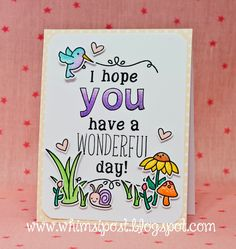 """Lawn Fawn's """"Gleeful Garden"""" stamp and dies, """"Flirty Frames,"""" """"Riley's ABC's,"""" """"Quinn's ABC's,"""" and """"Violet's ABC's."""" stamp sets, and """"Let's Polka, Mon Amie"""" patterned paper."""