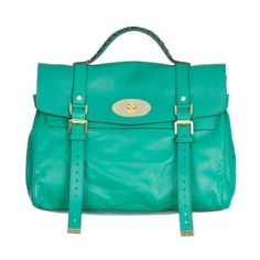 Mulberry Alexa Oversized Green Oversized messenger bag ❤ liked on Polyvore
