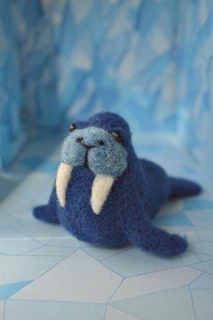 Needle Felted Blue Walrus Wool Walrus Sculpture by MinnowandMopi, $10.00