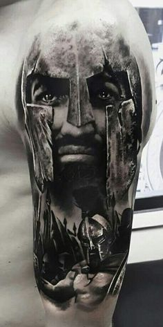 by artist Pavel Krim ★★★ Artists and studios, want to try Tattoocyn AfterCare -… Lion Head Tattoos, Dad Tattoos, Best Sleeve Tattoos, Body Art Tattoos, Tattoo Drawings, Tattoos For Guys, Cool Tattoos, Tattoo Guerreiro, Gladiator Tattoo