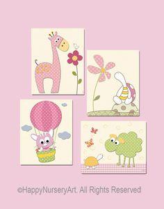 Infantil cópia da arte, decoração do berçário, arte menina, kids art conjunto de 4, girafa, ovelhas, balão, tartaruga, rosa, off white, verde