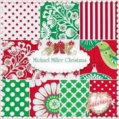 "Michael Miller Christmas 10 FQ Set By Michael Miller Fabrics: This set contains 10 fat quarters from a variety of Michael Miller collections.  100% cotton.  Each fat quarter measures approximately 18"" x 21""."