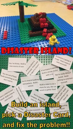 Lego Challenge–Disaster Island – The Lego Librarian - Kinderspiele Lego Club, Stem Projects, Lego Projects, Stem Activities, Summer Activities, After School Club Activities, Earth Science Activities, Summer Games, Life Science