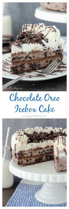 Cut yourself a big slice of this Chocolate Oreo Icebox Cake! The layers of chocolate Oreo mousse, chocolate graham crackers and whipped cream. Be sure to through a handful of Oreos and hot fudge sauce(Chocolate Pudding Oreo) Mini Desserts, Frozen Desserts, No Bake Desserts, Just Desserts, Frozen Treats, Oreo Icebox Cake, Icebox Cake Recipes, Easy Cake Recipes, Dessert Recipes