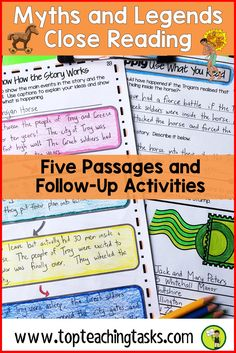Myths and Legends Reading Comprehension Passages and Questions. Your upper elementary students will love these engaging passages about the Trojan Horse, Maui and the Sun, the Lochness Monster and more! This differentiated reading comprehension resource in Reading Test, Reading Words, Reading Passages, Close Reading, Guided Reading Activities, Teaching Reading, Teaching Ideas, Reading Resources, Legends For Kids