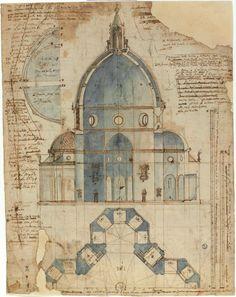 Lodovico Cardi detto il Cigoli (Cigoli di San Miniato, 1559 – Roma, 1613). Disegno della cattedrale di Santa Maria del Fiore (Duomo di Firenze)