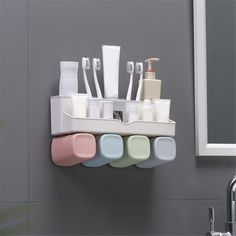 Toothpaste Dispenser Toothbrush Holder No Drill Wall Mount Bathroom Storage Rack Wall Mounted Toothbrush Holder, Storage Design, Storage Rack, Bathroom Storage, Drill, Cleaning, Support, Tube, Graphics