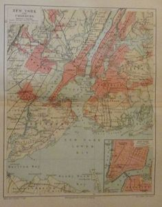 1896 NEW YORK UND UMGEBUNG USA alter Stadtplan Antique City Map Lithographie | eBay