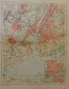 1896 NEW YORK UND UMGEBUNG USA alter Stadtplan Antique City Map Lithographie | eBay