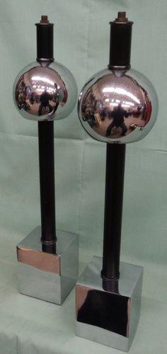 Pair Art Deco Machine Age Eames Era Table Lamps Atomic Miller Chrome Ball sCubes