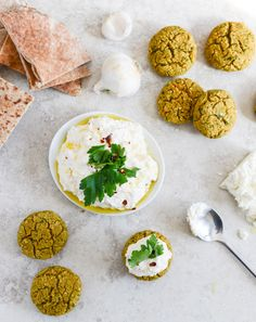 Baked Falafel with Spicy Feta Yogurt Dip. - How Sweet It Is