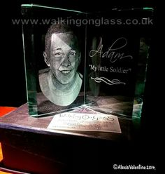 Hand Drill Engraved Portrait on an Optical Glass Book by Alexis Valentine of www.walkingonglass.co.uk