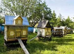 Photo: Look at these cute bee hives!! Next project maybe?  We're not sure whose hives these are, and there was no link to an article or anything, but we thought they were adorable and unique little bee hives, so we wanted to share them with you.  We love it when folks do cool stuff with bees!  #honeybees #uniquedesign