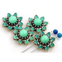 12 Turquoise floral 2 hole slider beads 11232
