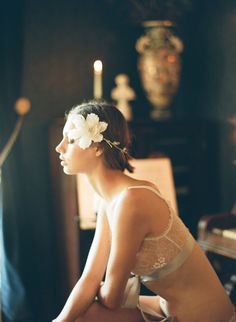 Enchanted Atelier for Claire Pettibone {Aria Vine} floral headpiece (Photography by Elizabeth Messina)