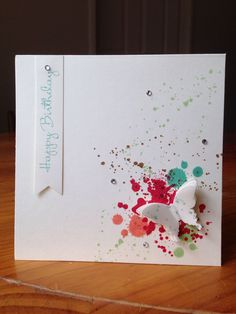 Great use for our Ink Blot stamp set. Just choose your recipients favourite colours & away you go. You could use a dragonfly or a small leaf branch to make it more of a masculine card.