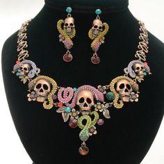colorful Dia de los Muertos necklace