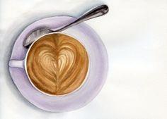 Cappuccino 1 ORIGINAL Painting Still Life por ForestSpiritArt, £22.00
