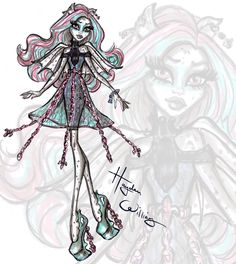 My 2nd hauntingly fabulous collab with Monster High is here! Check out my illustrations of Clawdeen, Rochelle & Twyla from the new movie 'Haunted'