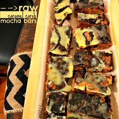 Come on over for these super rich, super delicious #Raw Caramel Carob Mocha Bars. They're #vegan, #glutenfree, #soyfree, and utterly amazing! #dessert #recipe