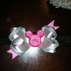 Glittery Minnie mouse headband hair bow