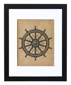 Love this Captain's Wheel Framed Burlap Print by Fiber and Water on #zulily! #zulilyfinds
