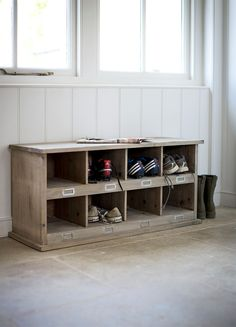 Inspired by a vintage school locker this is a neat way to store those stray trainers and messy football boots.