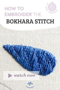 Learn to embroider the Bokhara couching stitch for your embroidery projects! Embroidery Stitches, Hand Embroidery, Couching Stitch, Learning To Embroider, Hand Stitching, Video Tutorials, Projects, Inspiration, Log Projects