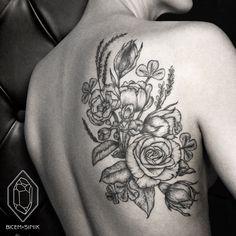 www.instagram.com/bicemsinik dotwork tattoo linework rose flower