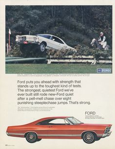 1967 Ford Galaxie 500 Car Ad Steeplechase by AdVintageCom on Etsy