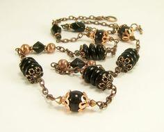 Black Gemstone Glass and Copper Long Beaded by BobblesByCarol, $28.00
