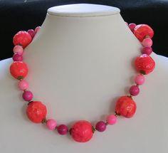 Vintage Neon Hot Pink Orange Paper Mache Bead Necklace Mod $30
