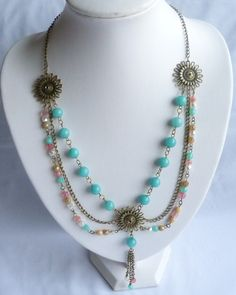 Aztec Princess Chalcendony and Czech Glass Necklace & Earrings Set £25.00