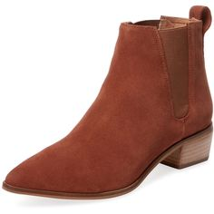 Seychelles Women's Marquee Suede Chelsea Bootie - Cognac, Size 6 (165 CAD) ❤ liked on Polyvore featuring shoes, boots, ankle booties, cognac, cognac booties, pointed toe booties, suede chelsea boots, short suede boots and cognac ankle boots