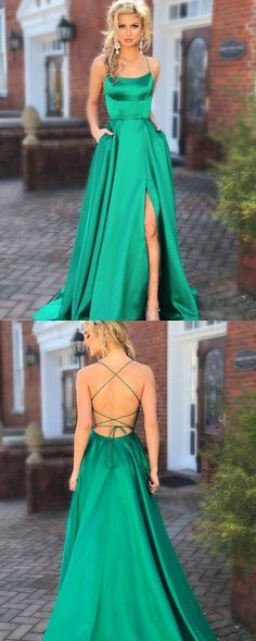Green Prom Dresses with Pocket Long Backless Slit Formal Evening Ball Gowns, TYP. - Green Prom Dresses with Pocket Long Backless Slit Formal Evening Ball Gowns, Source by jasmin_timm - Prom Dresses With Pockets, Cheap Prom Dresses, Prom Party Dresses, Trendy Dresses, Green Prom Dresses, Classy Prom Dresses, Emerald Prom Dress, Dresses Dresses, Womens Formal Dresses