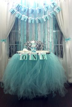 I made this tulle high chair skirt for a client who had a birthday party for her princess daughter. This tutu was made using 4 layers of tulle Tiffany Birthday Party, Tiffany Party, First Birthday Parties, First Birthdays, Birthday Ideas, 13th Birthday, Baby Girl Birthday, Frozen Birthday, Breakfast At Tiffanys Party Ideas
