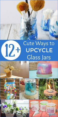 Instead of throwing out your used jars why not do something creative with them? From decorative to useful, there are tons of ways to upcycle glass jars! Homemade Crafts, Easy Crafts, Crafts For Kids, Mason Jar Crafts, Mason Jar Diy, Diy Jars, Recycled Crafts, Recycled Glass, Mason Jar Photo