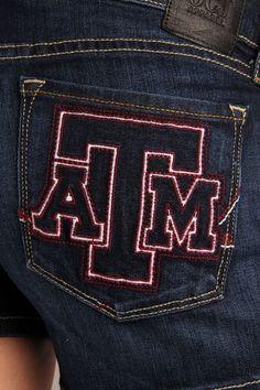 OCJ Apparel | Premium Collegiate Denim | Texas A&M Aggies Original Shorts Branded in Deep Indigo | www.ocjapparel.com
