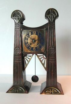 Art Deco Jugendstil Clock - circa 1900  - Art Nouveau clock with brass and enamel dial