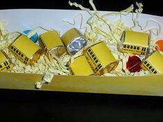 School bus favors -wrapped nuggets and chocolate coins