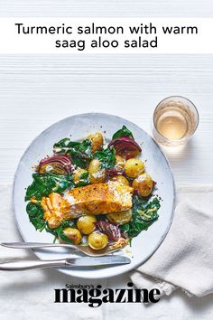 Omega-rich, heart-healthy salmon is great at taking on different flavours, like the ginger, cumin and turmeric used in this Sainsbury's magazine recipe Salmon Recipes, Fish Recipes, Blue Cheese Potato Salad, Saag, Midweek Meals, Middle Eastern Recipes, Tasty Dishes