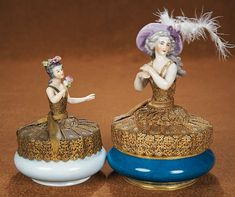 The Vanity Fair - Strong Museum Half Dolls: 23 German Porcelain Half Doll with Flowing Hair on French Ormolu and Porcelain Vanity Box